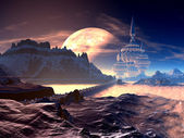 Bridge to Towered Alien City on Distant Planet — Stok fotoğraf