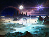 Twin Stars in Orbit Above Alien Landscape — Stock Photo
