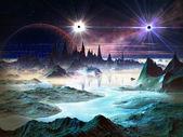Twin Stars in Orbit Above Alien Landscape — Stock Photo