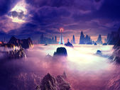 Watchtower Set in Dense Fog on Hositle Planet — Stock Photo