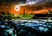 Ruins of Alien City on Faraway Planet — Stock Photo
