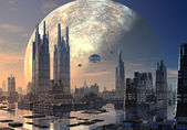 Flying Saucers over Modern Cityscape — Stock Photo