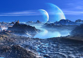 Blue Planets in Orbit over Mountains and Lakes — Stock Photo