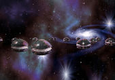 Alien Invasion by Flying Saucers — Stock Photo