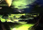 Lime Green Alien Landscape — Stock Photo