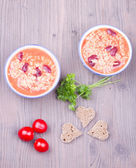 Soup with rice and beans — Stock Photo