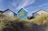 Blue & White Beach Huts — Stock Photo