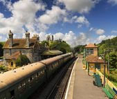 Steam Trains at Corfe Castle Station — Stock Photo