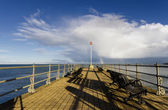 Rainbow at the end of the pier — 图库照片