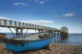 Blue Fishing Boat at Selsey Bill Lifeboat Station — Stock Photo