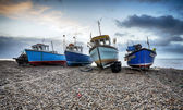Fishing boats on the beach at Beer in Devon — Stock Photo