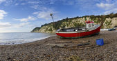Fishing Boat on the Beach at Beer in Devon — Stockfoto