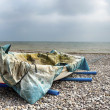 Foto Stock: Fishing Boat on Beach at Budleigh Salterton