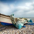 Stockfoto: Fishing Boat on Beach at Budleigh Salterton