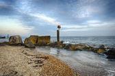 Hengistbury Head Beach under a Mackerel Sky — Stock Photo