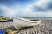 Fishing Boat on Beach at Budleigh Salterton — Stock Photo