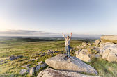 Woman Standing on Cliff — Stock Photo
