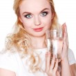 Healthy Young Woman with glass of fresh Water — Stock Photo #43711257