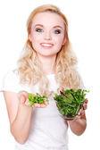 Portrait of young beautiful woman eating green fresh salad  — Foto Stock