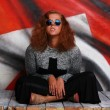 Постер, плакат: Glam rock style girl british flag background
