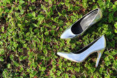 Silver High Heel Shoes — Stock Photo