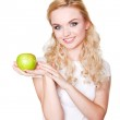 Woman with green apple — Stock Photo #45686073