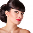 Sexy brunette with red lips — Stock Photo #45686933