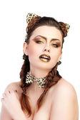 Girl in cat costume — Stock Photo