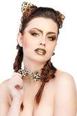 Beautiful girl in cat costume — Stock Photo