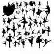 Set of ballet dancers — Stock Vector