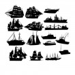 Vector de stock : Set of sailboat