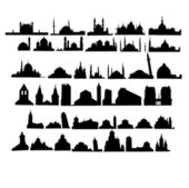 Set of churches and mosques — Vector de stock