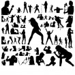 Set of singing women and men - Imagen vectorial
