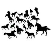 Vahşi atlar kümesi — Stok Vektör