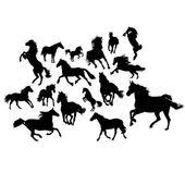 野生の馬のセット — ストックベクタ