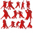 Set of tango dancing couples — Vector de stock