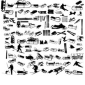 Set of skis and sledges — Stock Vector