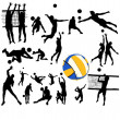 Volleyball players poses — Stock Vector #23625215