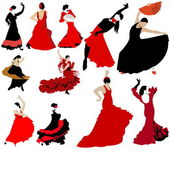 Set of flamenco dancers — Stock Vector