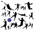 Set of handball players — Stock Vector #24071639