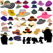 Stock Vector: Set of different hats