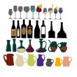Set of bottles and glasses - Stock Vector
