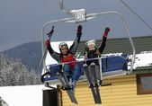 Skiers on ski resort — Stock Photo