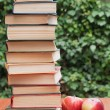 Stock Photo: Books and apples on the table