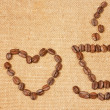 The inscription of the bean, I love coffee — Stock Photo
