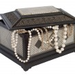 Stock Photo: Old chest with pearl necklace , isolated on white
