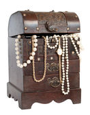 Old chest with pearl necklace , isolated on white — Stock Photo