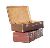 Scratched old suitcase with woman hat on white background, with clipping path included. — Stock Photo