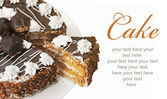 Cake isolated on white background. with sample text — Stock Photo