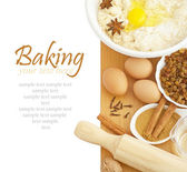 Ingredients for Baking isokated on white background. With sample text. — Stock Photo